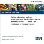 BS EN 55022:2010 Information technology equipment -Limits and methods of measurement